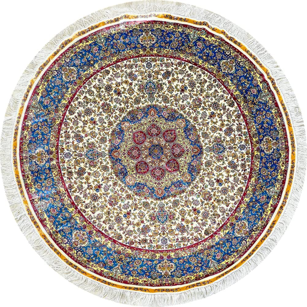 Yilong Carpet 6x6ft Round Rug Selling rankings Handmade Silk Tabriz Carpe Persian SEAL limited product