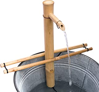 "Bamboo Accents Water Fountain with Pump, Backyard Pond Kit, Large 18"" Adjustable Style, Smooth Split-Resistant Bamboo, DIY Zen Bamboo Fountain"