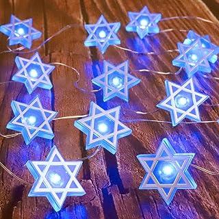 Impress Life Star of David Hexagram String Lights, Judaical Chanukah Lantern Israel Flag 10 ft 30 LEDs Powered by Battery ...
