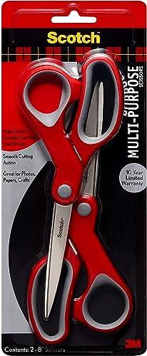 Scotch Multi-Purpose Scissor, 8 Inch, 2 Pack (1428-2), Red/Gray