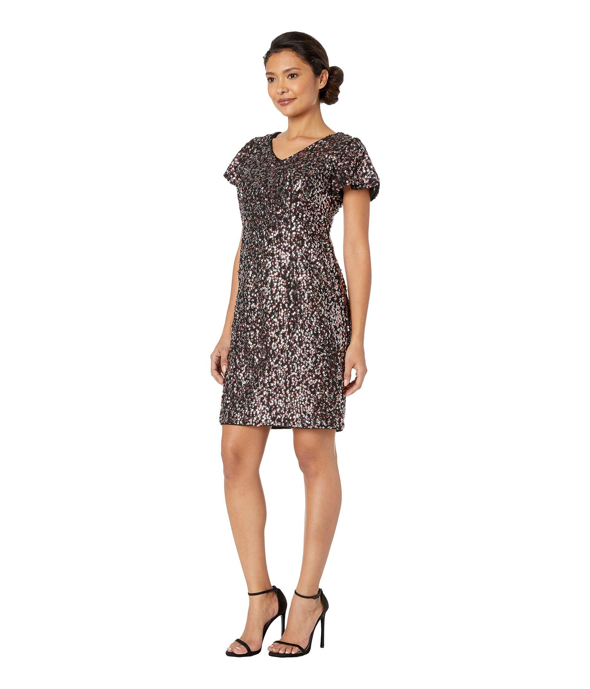 Coral Sweet Fluttered Short V sequin Dress neck Camuto Mesh Vince Sleeve Multi PAHHqx