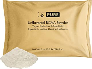 Pure Organic Ingredients Unflavored Instantized BCAA (Branched Chain Essential Amino Acids) (8 oz) Non-GMO, Vegan & Gluten...