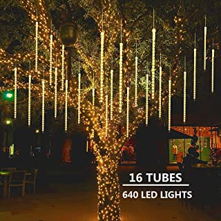 MAOYUE Meteor Shower Lights 16 Tubes 640 LED Icicle Lights Falling Rain Lights Outdoor Christmas Lights for Holiday Decorations, Christmas Decor, Tree, Eaves, Roof, Yard, Garden, Warm White