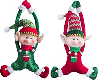 WEWILL Adorable Christmas Elves Set of 2 Boy and Girl Christmas Door Hanging Ornaments Home Decor Plush Characters 16-Inch
