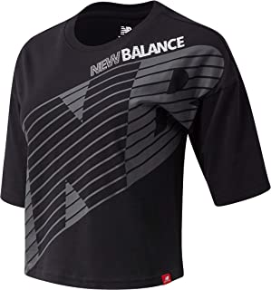 New Balance Women Essentials Nb Speed Graphic Tee Top Lifestyle Black XL