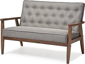 Baxton Studio Sorrento Mid-Century Retro Modern Fabric Upholstered Wooden 2-Seater Loveseat, Grey