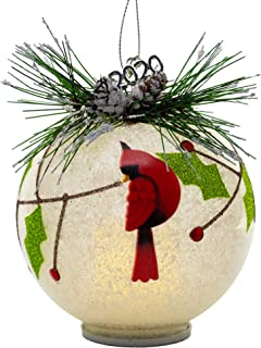 BANBERRY DESIGNS 2020 Annual Glass Cardinal Christmas Ornament – LED Lighted Ball..