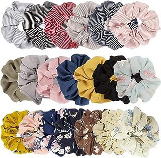 Jaciya 20 Pack Summer Scrunchies for Hair - Women's Large Hair Scrunchies for Hair, 8 Colors Chiffon Flower Hair Scrunchie, 6 Solid Colors Chiffon Scrunchy, 6 Colors Striped Scrunchies Hair Ties