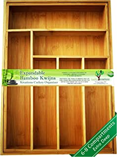 Solid Deep Wide Expandable Bamboo Drawer Organizer, Premium Cutlery and Utensil Tray, Pure Bamboo, Adjustable Kitchen Drawer Divider, Compartments Expandable