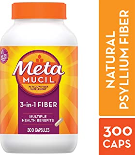 Metamucil Fiber, 3-in-1 Psyllium Capsule Fiber Supplement, 300 ct Capsules
