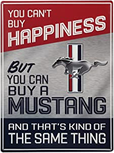 Open Road Brands Ford Mustang Metal Sign - You Can't Buy Happiness But You Can Buy a Mustang - Ford Wall Decor for Garage, Shop or Man Cave