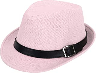 cf2ba93ff679f4 Simplicity Panama Style Trilby Fedora Straw Sun Hat with Leather Belt