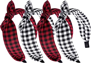4 Pcs Women Plaid Headbands Wide Bow Christmas Knot Headbands Vintage Bunny Ears Headwraps Hair Band for Women Girls Decoration Supplies