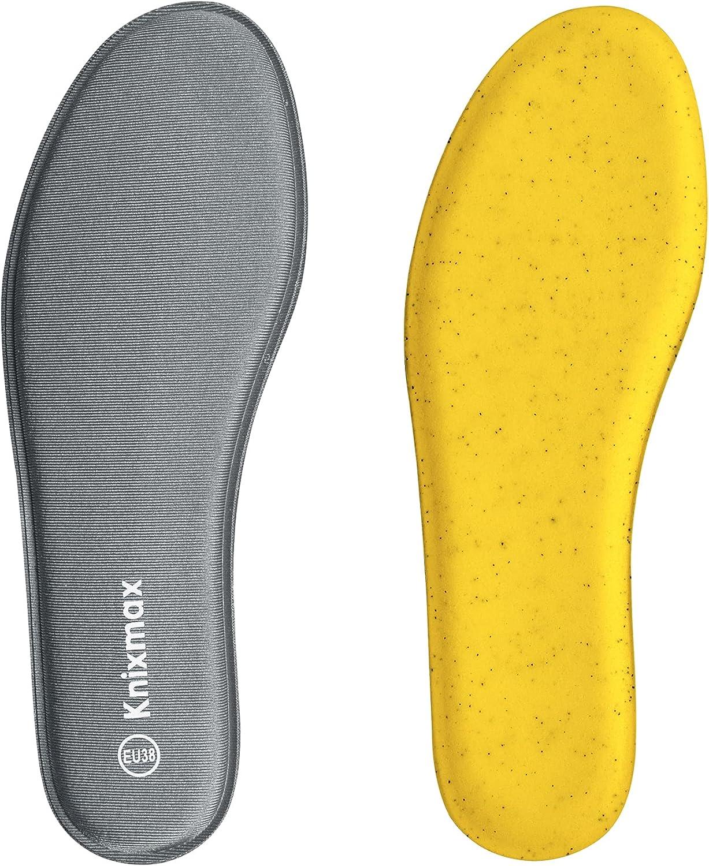 Knixmax Plantillas Memory Foam de Franela para Hombre, Plantillas Confort Amortiguadoras Cómodas y Flexibles para Trabajo, Deportes, Caminar, Senderismo
