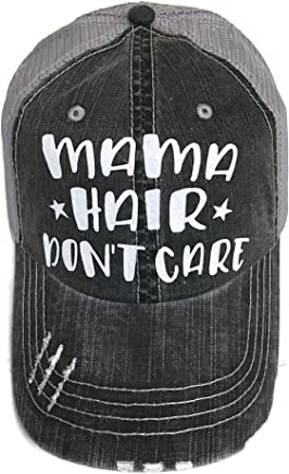 White Glitter Mama Hair Don't Care Distressed Look Grey Trucker Cap Hat