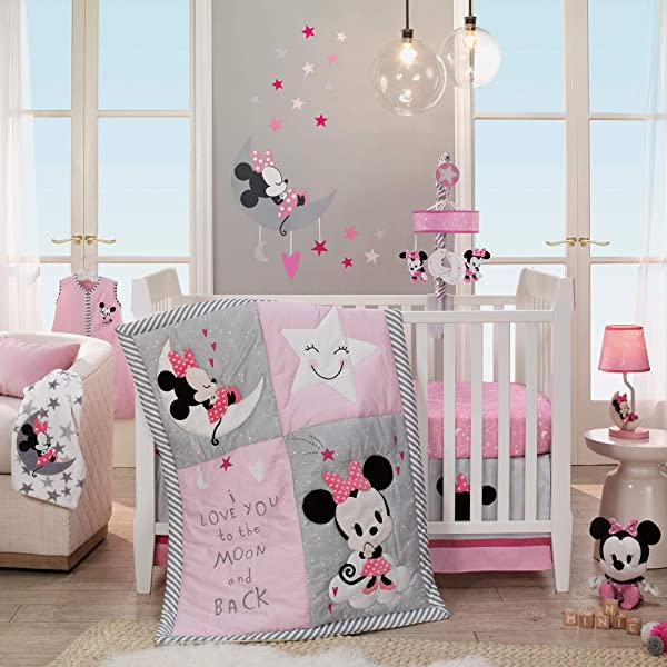 Lambs Ivy Disney Baby Minnie Mouse 4 Piece Nursery Crib Bedding Set Pink