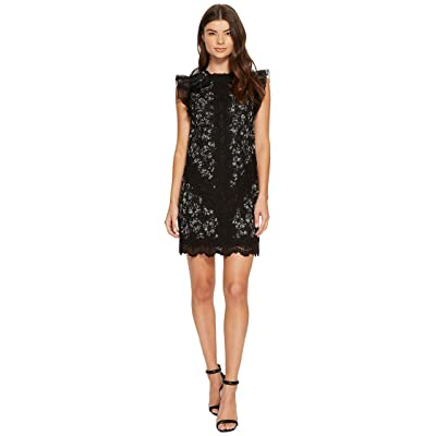Rebecca Taylor Sleeveless Moonflower Embroidered Dress (Black Combo) Women