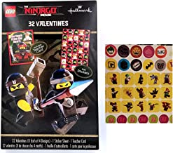 Lego Ninjago Movie Valentines Day 32 Cards with Stickers and Teacher card + Bonus One Sheet of 12 Lego The Batman Movie Stickers Bundle (2 Items)