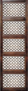 TUP THE URBAN PORT Decorative Mango Wood Wall Panel with See Through Circular Pattern, Rectangle, Espresso Brown