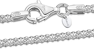 925 Sterling Silver 2.5 mm Diamond Cut Popcorn Coreana Chain Necklace 16