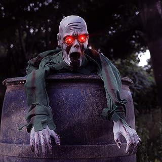 فيجول هالوين جراوند بريكر زومبي زاحف مع عيون LED وتأثير صوت مخيف 43.3 بوصة هالوين مخيف أرضي رسوم متحركة زومبي للهالووين لت...