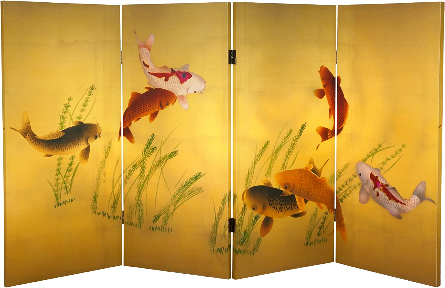 Oriental Furniture Tall Double Sided Seven Lucky Fish Canvas Room Divider, 3-Feet