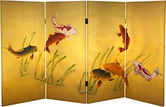 Oriental Furniture 3 ft. Tall Double Sided Seven Lucky Fish Canvas Room Divider