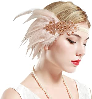 ArtiDeco 1920s Headband Women's Gatsby Costume Accessories 20s Flapper Feather Headband