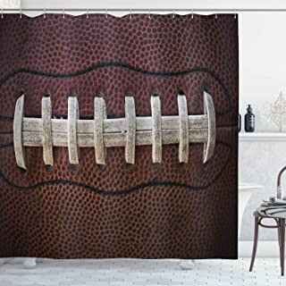 Ambesonne Sports Decor Collection, American Football Themed Fun Traditional Sport Close Up Photo Pattern, Polyester Fabric Bathroom Shower Curtain Set with Hooks, Ivory Black Dark Brown