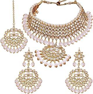 Aheli هندی سنتی Maang Tikka با گوشواره های گردنبند کوندان مجموعه جواهرات طراحان عروسی قومی برای زنان