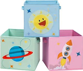 SONGMICS Cajas de Almacenaje, Juego de 3, Organizadores de Juguetes, Cubos Plegables con Asas, para Habitación de Niños, S...