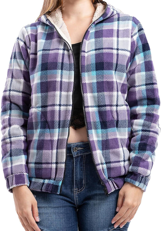 Women's Plaid Flannel Shirt Sherpa Lined Full-Zip Hooded Fleece Sweatshirt Jacket