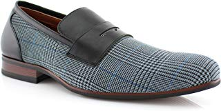 Ferro Aldo Men's 19371 Designer Plaid Print Slip On Round Toe Penny Loafers Dress Shoes