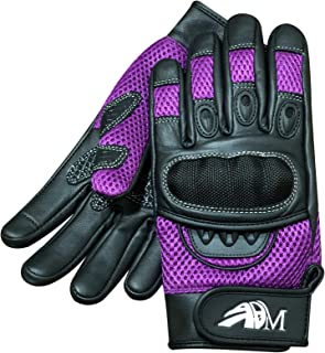 ADM Ladies Full Finger with Knuckle Shells for Protection Leather Comofortable Gloves for Motorbike, Mountain Bike, Racing, Cycling Gloves 9001 LDY Colour: Black-Pink