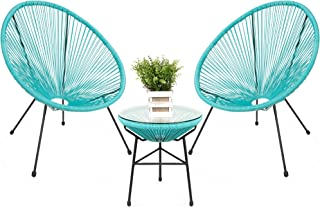 Best Choice Products 3-Piece Outdoor Acapulco All-Weather Patio Conversation Bistro Set w/Plastic Rope, Glass Top Table an...