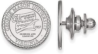 George Mason University Patriots School Seal Lapel Pin in Sterling Silver 15x15mm