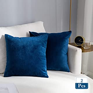Stellhome Super Soft Velvet Cushion Covers Square Pillowcase for Bed Couch Sofa Bench, 18 x 18 inch (45 cm), Navy Blue, Pack of 2