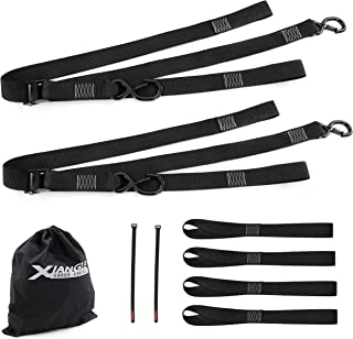 Xiangle Lashing Straps, Black E-Coating Cam Buckle Tie Down, S Hooks with Keeper(2pk), 1.5 inch-6.5ft (1, 6.5ft)