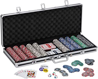 Fat Cat Bling 13.5 Gram Texas Hold 'em Clay Poker Chip Set with Aluminum Case, 500 Striped Dice Chips