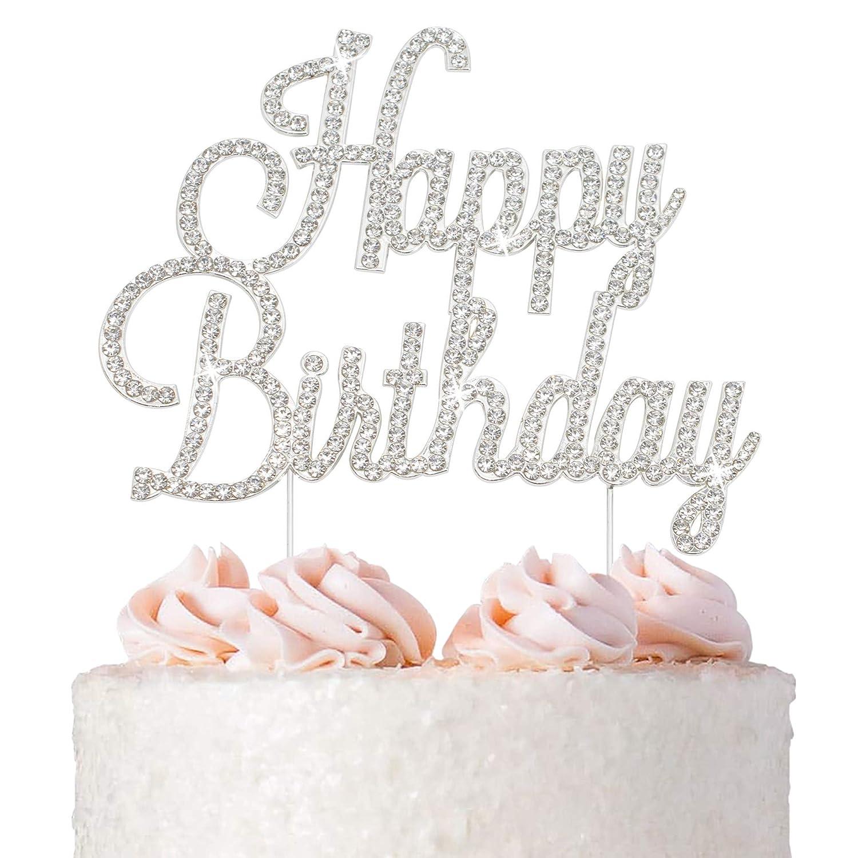 Happy Birthday Cake 5 ☆ popular Topper - Premium Metal Quantity limited Silver Birthd
