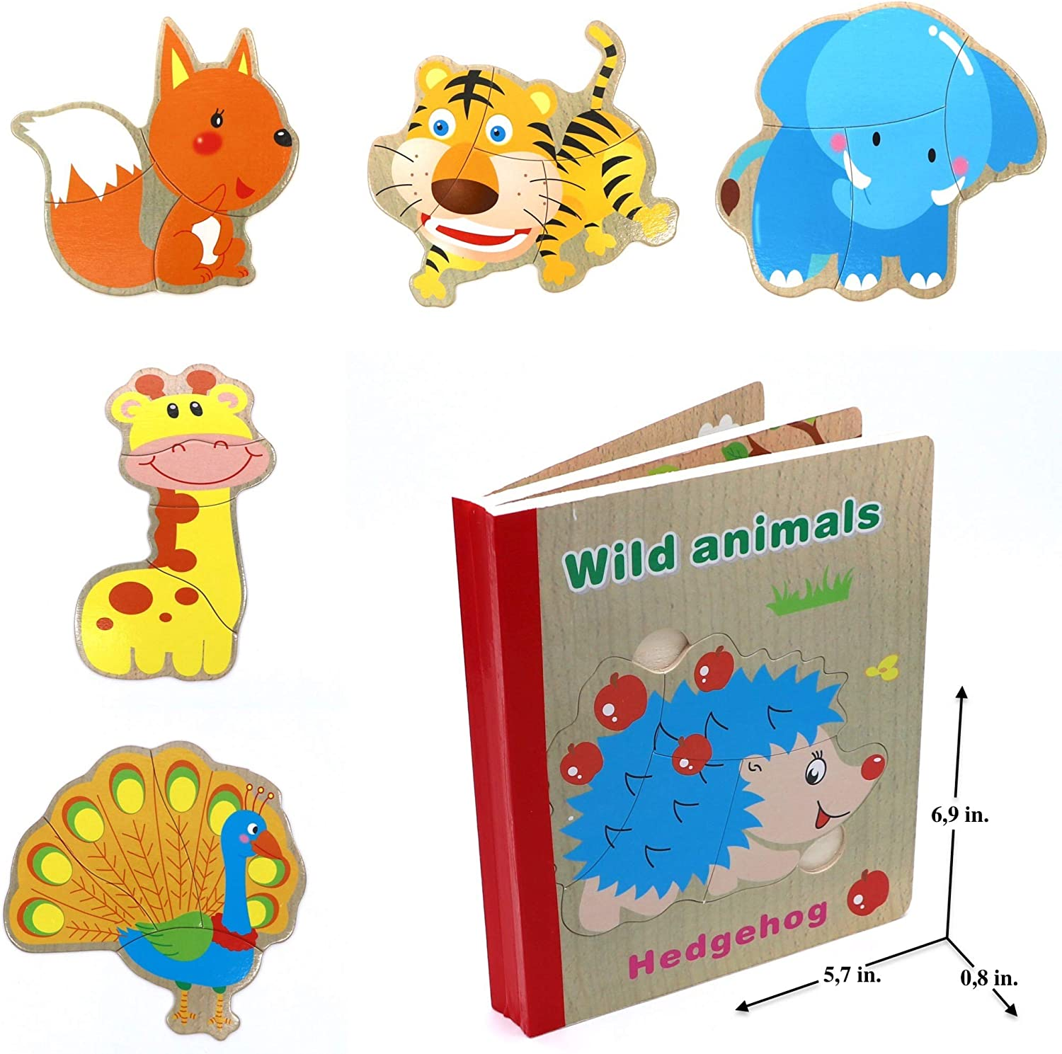 Happiness in Games Wooden Books Puzzle- Wild Animals Wooden Books