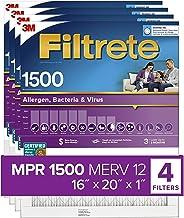 Filtrete 2000-4-HR 16x20x1, AC Furnace Air Filter, MPR 1500, Healthy Living Ultra Allergen, 4-Pack