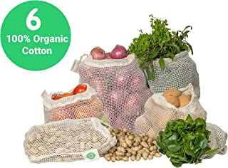 Reusable Cotton Mesh Produce Bags - 100% Organic Cotton, Durable, Double Stitched, Washable with Tare Weight & Drawstring - Mesh Bags for Grocery Shopping, Vegetables & Fruits | 6 Bags (2L, 2M, 2S)