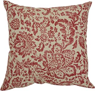 Pillow Perfect Damask Decorative Square Toss Pillow, 16-1/2-Inch, Red/Tan