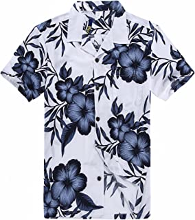 Palm Wave Men's Hawaiian Shirt Aloha Shirt in White Navy