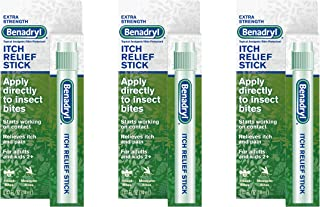 Benadryl Extra Strength Itch Relief Stick, Topical Analgesic, Travel Size, .47 fl. oz (Pack of 3)