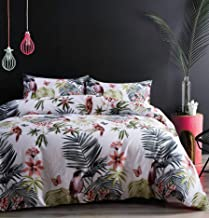 Eikei Palm Leaves Duvet Cover and Pillowcases Set Tropical Exotic Island Flowers Trees Branches Paradise Birds Bedding Jun...