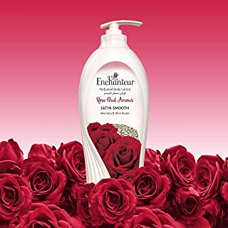 Enchanteur Satin Smooth- Rose Oud Amour Lotion with Aloe Vera & Olive Butter for Satin Smooth Skin, for all skin types, 500ml