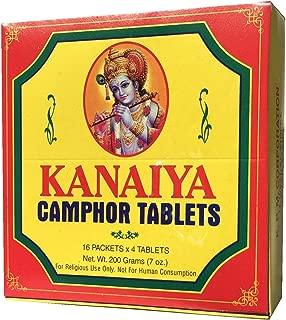 Kanaiya Camphor Tablets from India - 200 Grams - 64 Tablets (16 Blocks of 4) Brand
