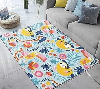 Area Rug Sloth Woodpecker Cartoon Cute Large Floor Mat for Kids Living Dining Dorm Room Bedroom Home Decorative 5' x 6.6'